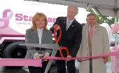 Pink ribbon cutting ceremony