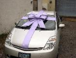 Gift wrap car with ribbon and bow